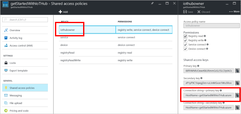 Projects - Setup Azure IoT Hub - Documentation